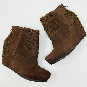 OTBT Ringold Suede Wedge Bootie 8 Brown Boho Artsy